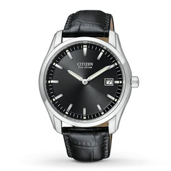 Đồng Hồ Nam Citizen Eco Drive Black Dial Black Leather Men's Watch AU1040-08E