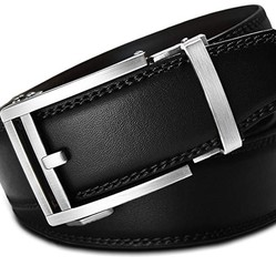 Thắt lưng Men's Holeless Leather Ratchet Click Belt - Trim to Perfect Fit Black