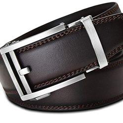 Thắt lưng Men's Holeless Leather Ratchet Click Belt - Trim to Perfect Fit Brown