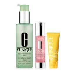 Bộ Chăm Sóc Da Mặt Da Trung Tính Clinique: Sữa Rửa Mặt Liquid Facial Soap Mild, Kem Dưỡng Ẩm Moisture Surge Hydrating Supercharged, Kem Chống Nắng Face Cream SPF30