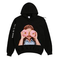 Áo Hoodie ADLV Baby Face Donut 3 Màu Đen