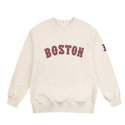 Áo Nỉ MLB Boston Red Sox Chunky Shose Wording Over Sweatshirt Màu Kem Chữ Đỏ