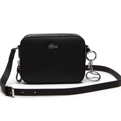Túi Lacoste Women's Daily Classic Coated Piqué Canvas Square Cross Body Bag Black