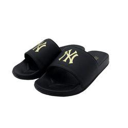 Dép Unisex MLB Đen Logo Vàng Size 43