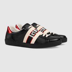 Giày Gucci Men's Ace Gucci Stripe Sneaker Màu Đen