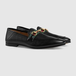 Giày Gucci Men's Leather Horsebit Loafer With Web Màu Đen