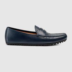 Giày Lười Nam Gucci Signature Driver Màu Xanh Navy