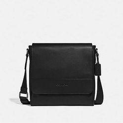 Túi Coach F68015 Houston Map Leather Crossbody Messenger Shoulder Bag, QB/Black