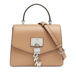 Túi Xách Tay DKNY Elissa Mini Pebbled Leather Satchel Màu Nâu