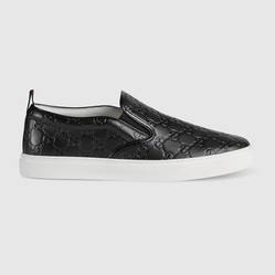 Giày Men's Gucci Signature Slip-On Sneaker Màu Đen