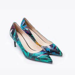 Giày Cao Gót Nữ Pazzion 2886-9 Màu Đen Họa Tiết Xanh Size 34