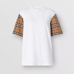 Áo Phông Burberry Vintage Check Detail Cotton T-shirt Màu Trắng
