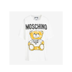 Áo Phông Moschino Brushstroke Teddy Bear Women Short Sleeves T-Shirt White