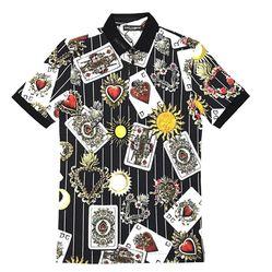 Áo Polo Dolce & Gabbana Màu Đen Họa Tiết Lá Bài