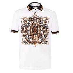 Áo Polo Dolce & Gabbana Màu Trắng Họa Tiết Nâu Kẻ Tay