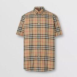 Áo Sơ Mi Burberry Short-sleeve Check Cotton Poplin Shirt