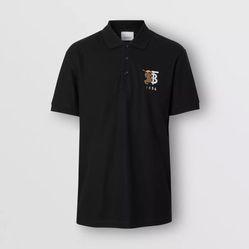 Áo Thun Nam Burberry Contrast Logo Graphic Cotton Piqué Polo Shirt Màu Đen