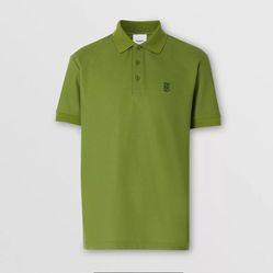 Áo Polo Burberry Monogram Motif Cotton Piqué Polo Shirt Màu Xanh Lá