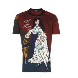 Áo Thun Dolce & Gabbana DG King Print Cotton T-Shirt Màu Đỏ Phối Họa Tiết