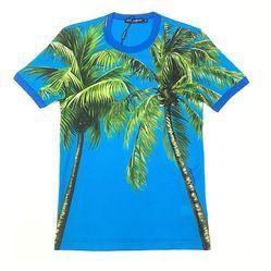 Áo Thun Dolce & Gabbana Men's Tropical Print T-shirt Màu Xanh Blue Họa Tiết Cây Dừa