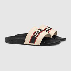 Dép Sandal  Nam Gucci Stripe Rubber Slide Màu Trắng, Đen