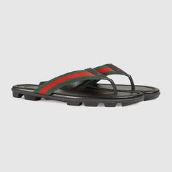 Dép Xỏ Ngón Gucci Web And Leather Thong Sandal Màu Đen