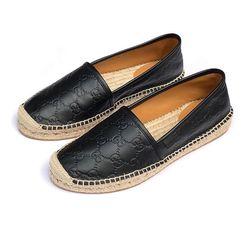 Giày Lười Gucci GC Signature Leather Espadrilles New SS2019 Màu Đen