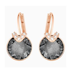 Khuyên Tai Swarovski Bella V Pierced Earrings Gray Rose-Gold Tone Plated