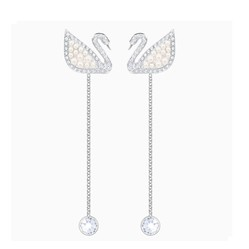 Khuyên Tai Swarovski Iconic Swan Pierced Earrings White Rhodium Plated