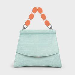 Túi Cầm Tay Charles & Keith Acrylic Handle Sculptural Bag Màu Xanh Blue