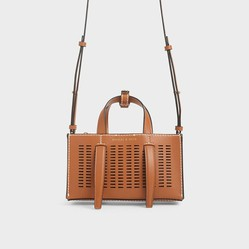 Túi Đeo Chéo Charles & Keith Laser-Cut Double Top Handle Bag Màu Nâu
