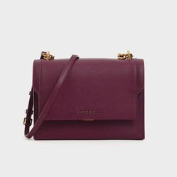 Túi Đeo Vai Charles & Keith Chain Link Embossed Crossbody Bag Màu Tím