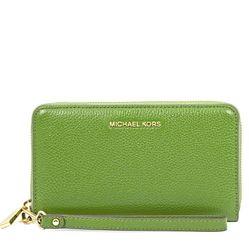 Ví Michael Kors Mercer Large Phone Wristlet - True Green Màu Xanh Lá Cây