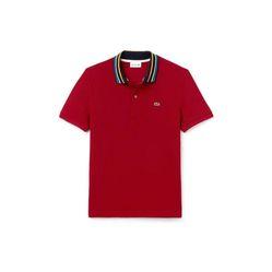 Áo Lacoste Men's Slim Fit Striped Contrast Collar Petit Pique Polo Shirt Màu Đỏ Size XS