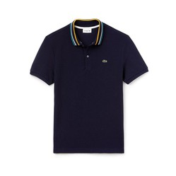 Áo Lacoste Men's Slim Fit Striped Contrast Collar Petit Pique Polo Shirt Màu Xanh Navy Size XS