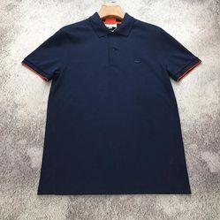 Áo Phông Lacoste Màu Xanh Navy Viền Đỏ