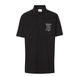 Áo Polo Burberry Monogram Motif Cotton Piqué Polo Shirt Màu Đen