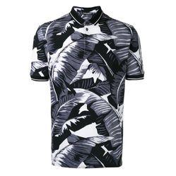 Áo Polo Dolce & Gabbana Palm Leaf Print Polo Shirt Màu Đen Xám
