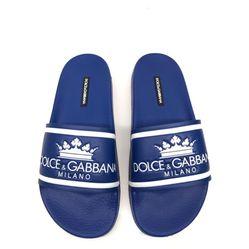 Dép Dolce & Gabbana Printed Calfskin And Rubber Sliders Màu Xanh Dương