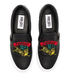 Giày Slip On Kenzo Jumping Tiger Sneakers Màu Đen