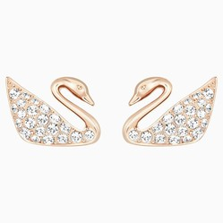 Khuyên Tai Swarovski Swan Pierced Earrings, White, Rose-Gold Tone Plated