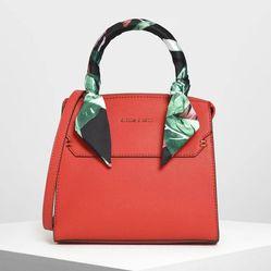 Túi Cầm Tay Charles & Keith Scarf Wrapped Top Handle Bag Ck2-50780817-2 Màu Đỏ