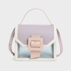 Túi Cầm Tay Charles & Keith See-Through Effect Buckled Bag CK2-50150909 Màu Xám