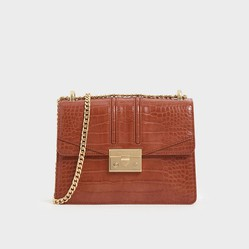 Túi Đeo Vai Charles & Keith Croc-Effect Chain Strap Shoulder Bag Màu Nâu