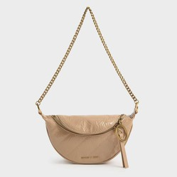 Túi Đeo Vai Charles & Keith Wrinkled Patent Ring Zip Tassel Crossbody Bag Màu Hồng