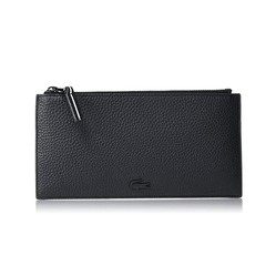 Ví Lacoste Men's Altitude Striped Zip Pull Large Grained Leather Wallet Màu Đen