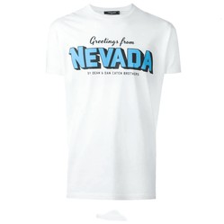 Áo Phông Dsquared2 Greetings From Nevada T-Shirt In White Màu Trắng Size M
