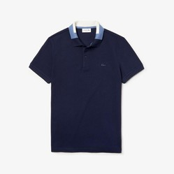 Áo Polo Men's Lacoste Slim Fit Colourblock Collar Cotton Pique Xanh Navy