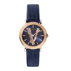 Đồng Hồ Versace Virtus Blue Leather Strap Watch VEHC00419 36mm Cho Nam