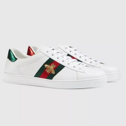 Giày Gucci Men's Ace Embroidered Sneaker White Leather With Bee Màu Trắng